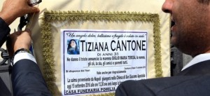 The funeral poster of Tiziana Cantone during her funeral in Casalnuovo (Naples), 15 September 2016. The 31 years old woman battled for months to have a viral video that showed her having sex removed from the internet. ANSA/ CIRO FUSCO